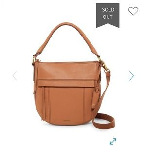 Fossil Molly Small Leather Hobo In Saddle Brown!